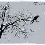 Cuervo en un arbol nevado